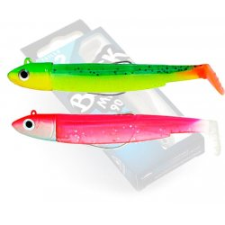 Black Minnow 90 double combo off shore 10gr Vert-Orange Rose-Fluo