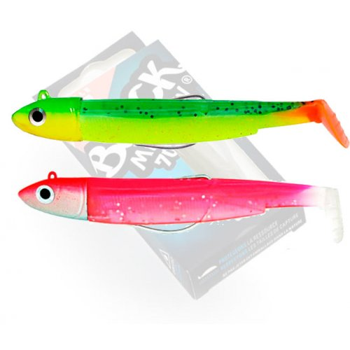 Black Minnow 70 double combo off shore 6gr Vert-Orange Rose-Fluo