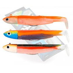 Fiiish Maxi combo 120 - 3 Black Minnows off shore 25 gramos Candy Green, Orange Fluo y Sunrise